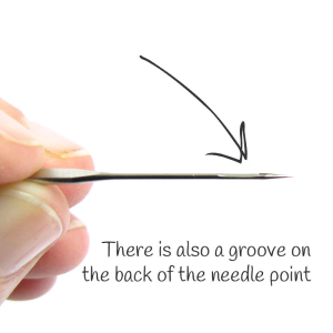The groove on the back of the needle helps to guide the thread when making a stitch