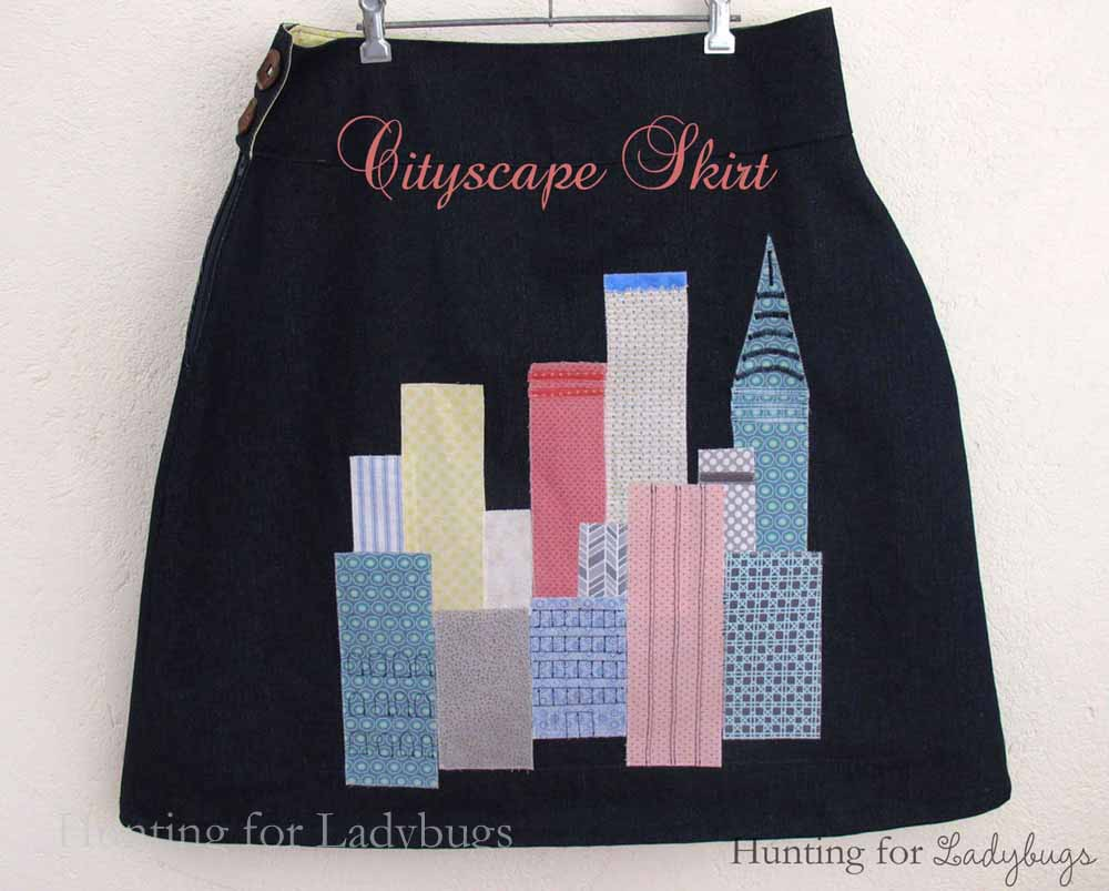 Learn how to appliqué the cityscape skirt